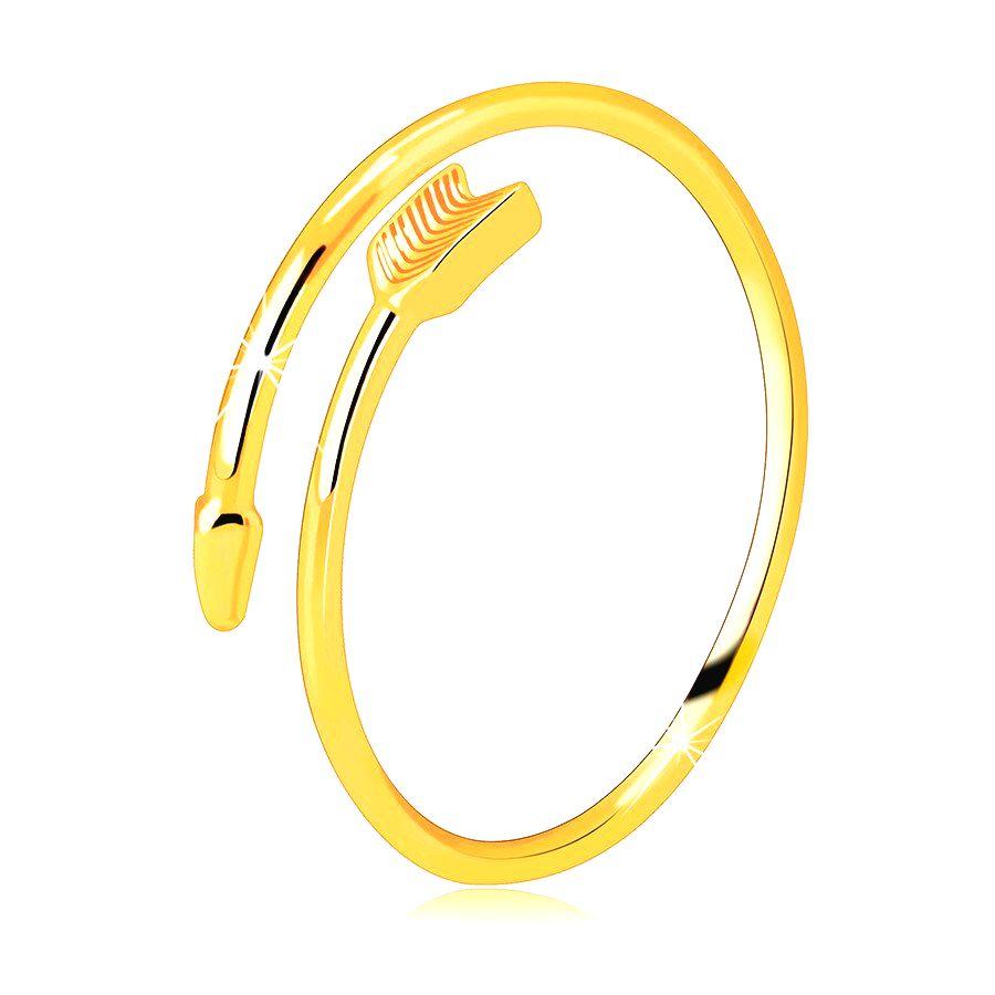 Prsteň zo žltého 14K zlata - zatočený šíp