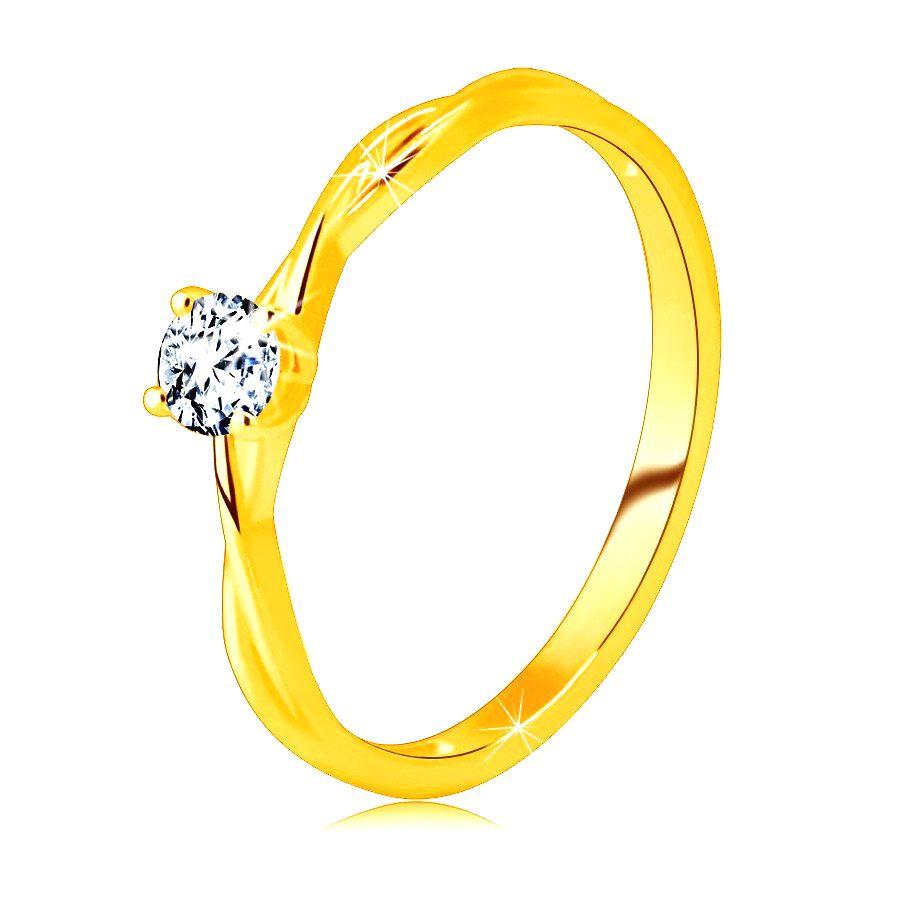 Zásnubný prsteň v žltom 14K zlate - brúsený zirkón čírej farby vsadený v prsteni - Veľkosť: 58 mm
