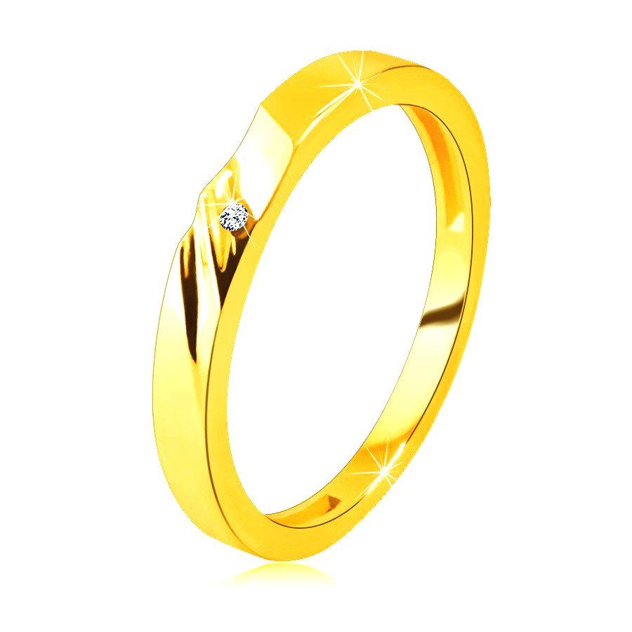 Zlatá obrúčka v 14K zlate - prsteň s jemnými zárezmi