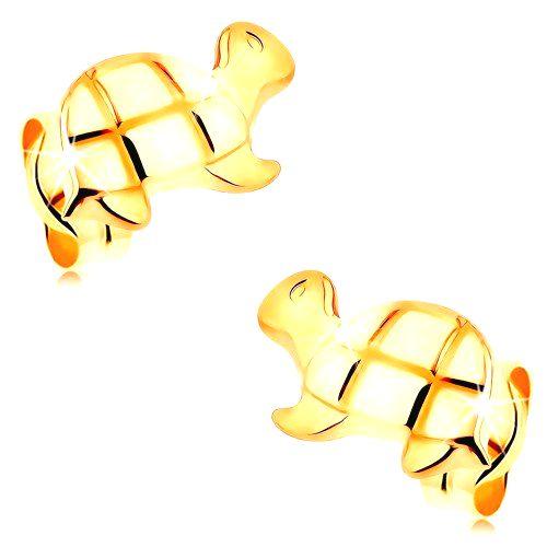 Zlaté puzetové náušnice 585 - lesklá korytnačka s gravírovanými detailmi