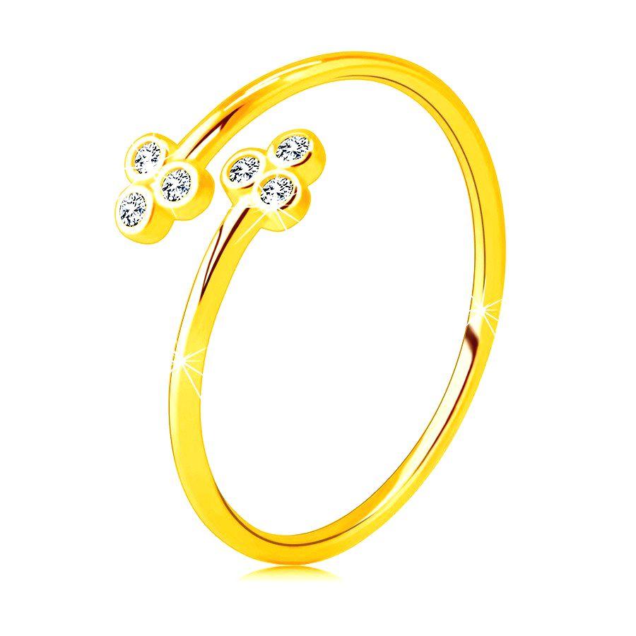 Zlatý 585 prsteň s úzkymi ramenami - dva trojlístky s čírymi okrúhlymi zirkónikmi - Veľkosť: 58 mm