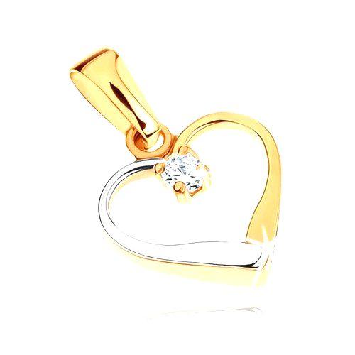 Zlatý dvojfarebný prívesok 375 - kontúra symetrického srdca