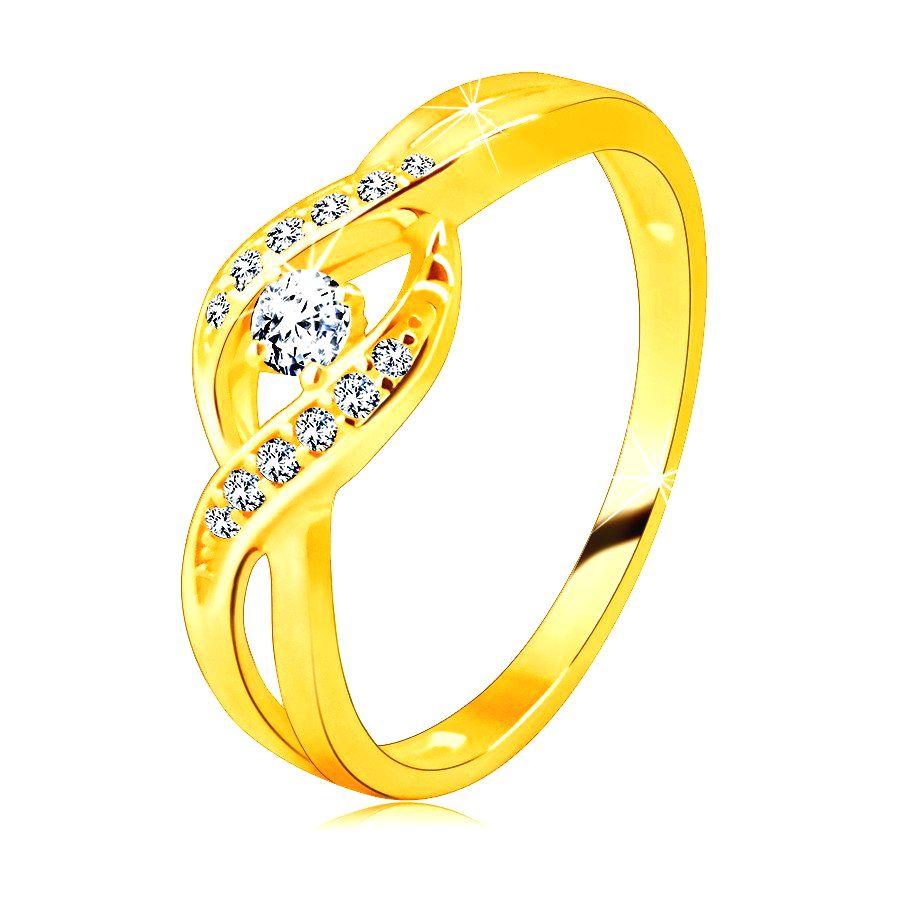 Zlatý prsteň zo 14K zlata - tenké prepletené ramená so zirkónikmi