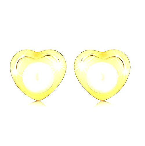 Náušnice v žltom 9K zlate - malé lesklé srdiečko