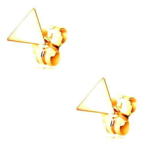 Náušnice v žltom zlate 585 - lesklý plochý trojuholník