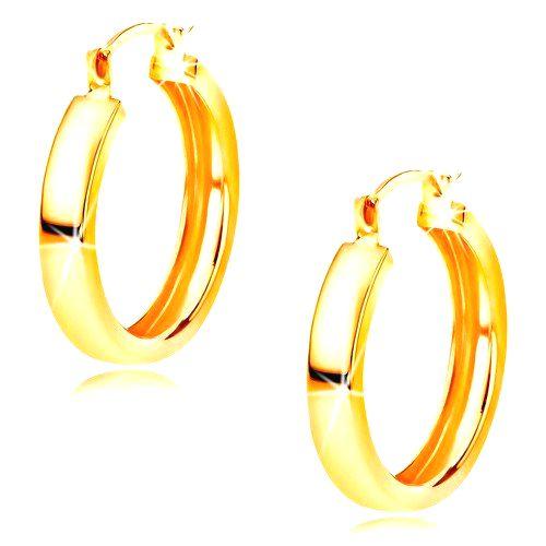 Zlaté náušnice 585 - kruhy s lesklým hladkým povrchom
