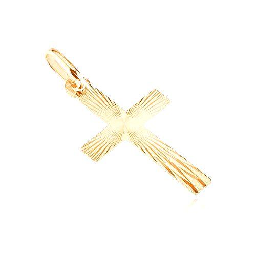 Zlatý plochý prívesok 585 - kríž