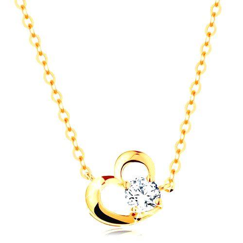 Náhrdelník v žltom 14K zlate - obrys asymetrického srdca