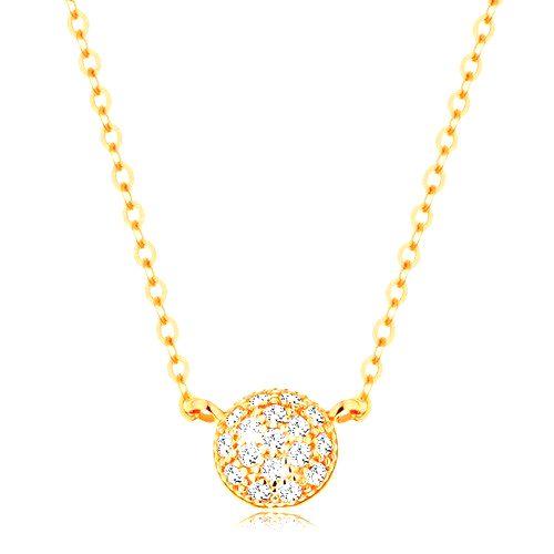 Náhrdelník v žltom 14K zlate - vypuklý kruh zdobený zirkónmi čírej farby