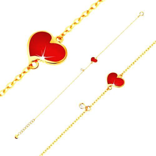 Náramok v žltom 14K zlate - červené asymetrické srdce a číry zirkónik