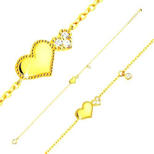 Náramok zo žltého 14K zlata - lesklé a trblietavé srdiečko