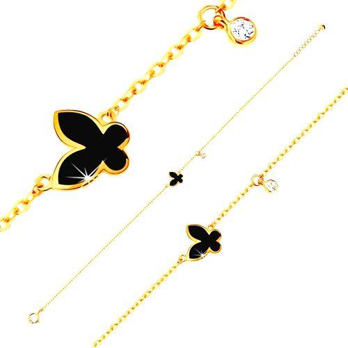 Náramok zo žltého zlata 585 - glazúrovaný čierny motýľ a okrúhly zirkónik čírej farby