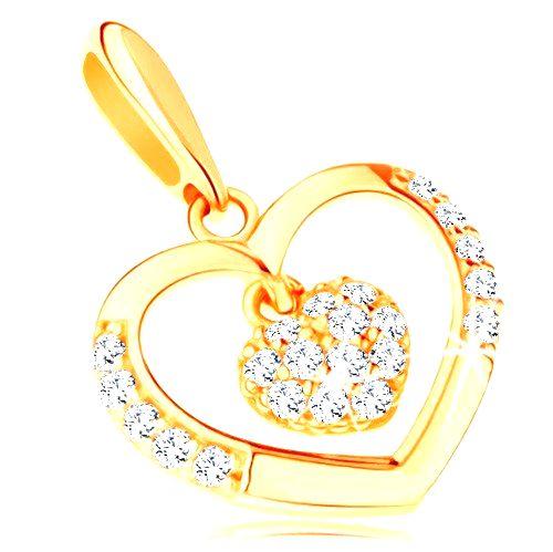 Prívesok v žltom 14K zlate - kontúra srdca s menším zirkónovým srdiečkom