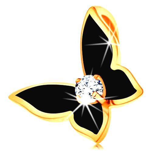 Prívesok zo žltého 14K zlata - motýlik zdobený čiernou glazúrou
