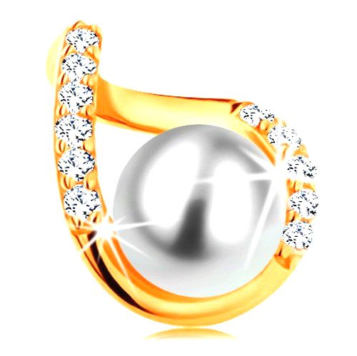 Prívesok zo žltého 14K zlata - zvlnený obrys kvapky so zirkónmi a bielou perlou