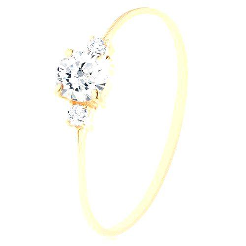 Zlatý prsteň 585 - číry okrúhly zirkón