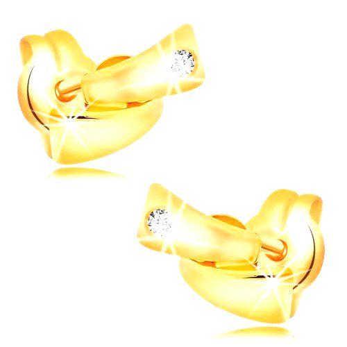 Diamantové náušnice v žltom 14K zlate - dva malé oblúky
