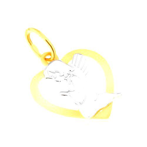 Dvojfarebný prívesok zo zlata 14K - kontúra pravidelného srdca