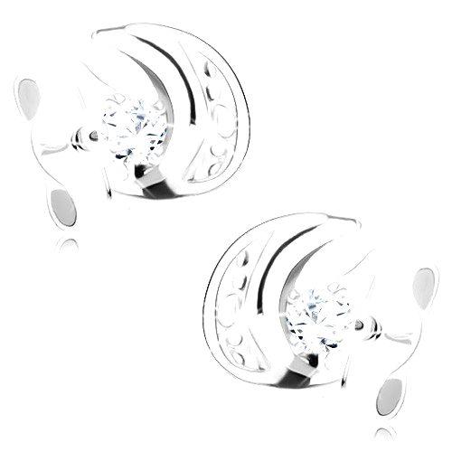 Náušnice v bielom 9K zlate - vypuklý kosáčik mesiaca