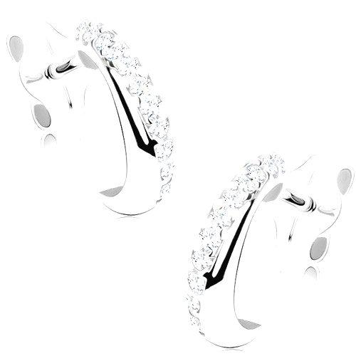 Náušnice z bieleho 9K zlata - polkruh so šikmou líniou čírych zirkónikov