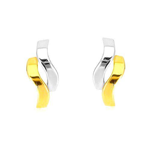 Náušnice z kombinovaného zlata 585 - lesklé dvojfarebné vlnky