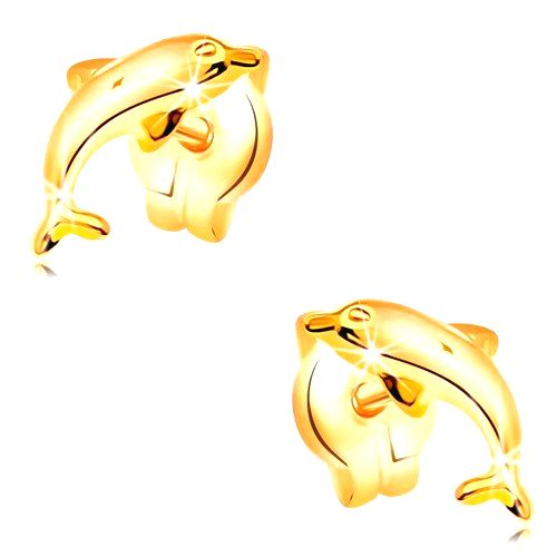 Náušnice zo žltého 14K zlata  - delfín vo výskoku