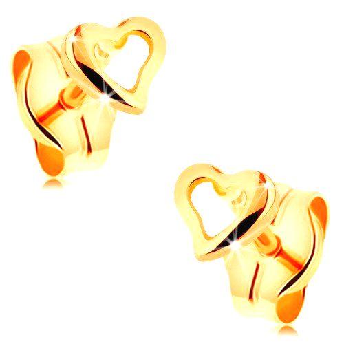 Náušnice zo žltého 14K zlata - kontúra drobného nepravidelného srdca
