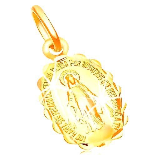 Prívesok zo žltého zlata 14K - obojstranný medailónik s Pannou Máriou