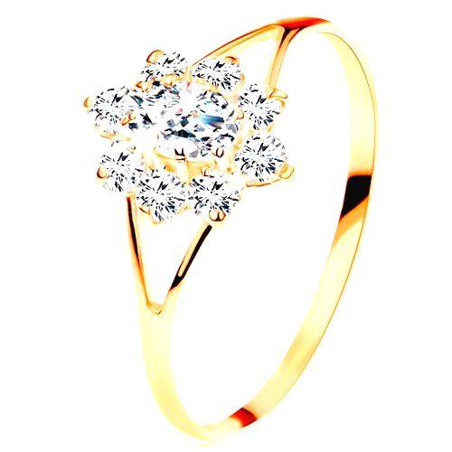 Prsteň zo žltého 14K zlata - číry zirkónový kvietok