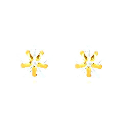 Puzetové náušnice v žltom 9K zlate - päťcípa hviezda