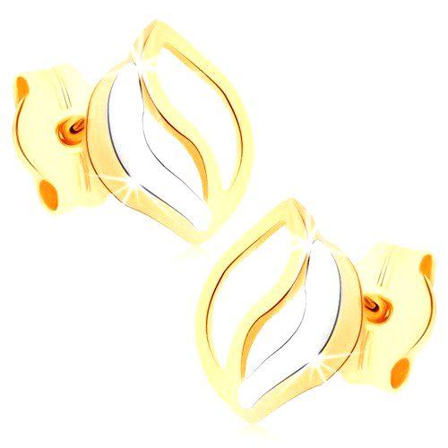 Puzetové náušnice v žltom 9K zlate - tri zvlnené línie