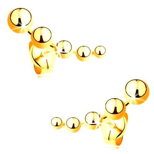 Puzetové náušnice zo žltého zlata 585 - zmenšujúce sa guľôčky