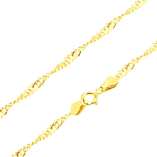 Retiazka zo žltého 14K zlata - ploché oválne očká