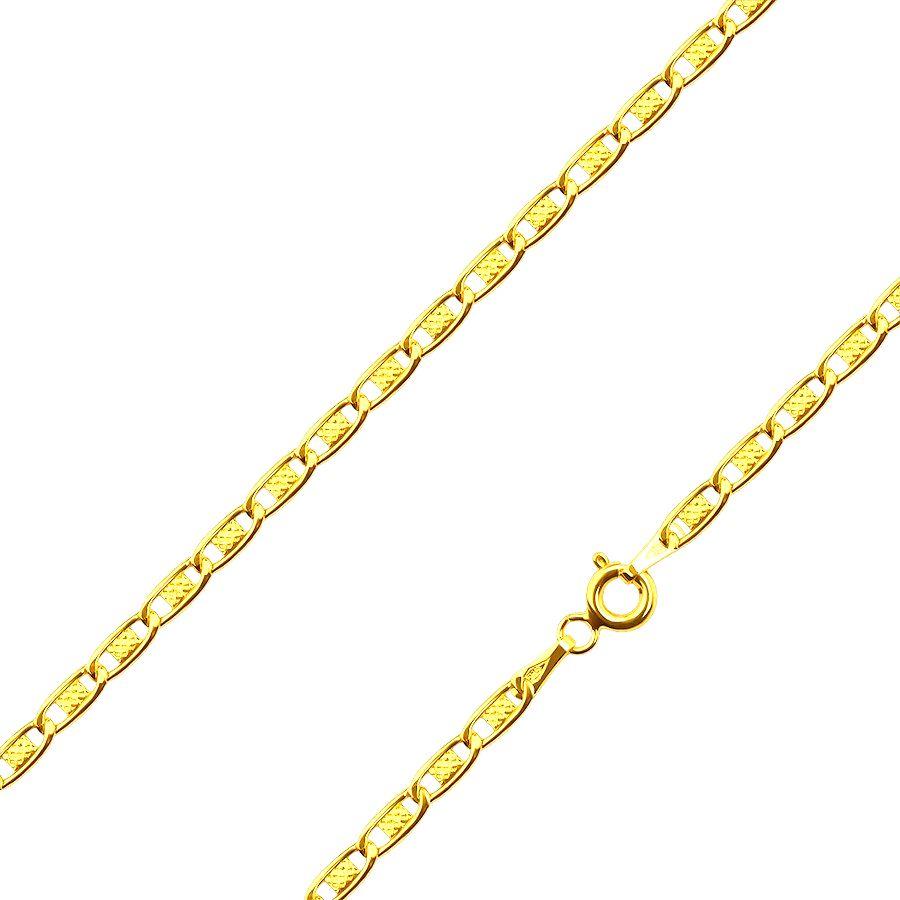 Zlatá 585 retiazka - lesklé články zdobené obdĺžnikom s mriežkou