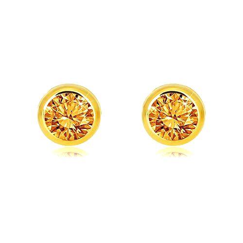 Zlaté 9K náušnice - prírodný žltý citrín okrúhleho tvaru