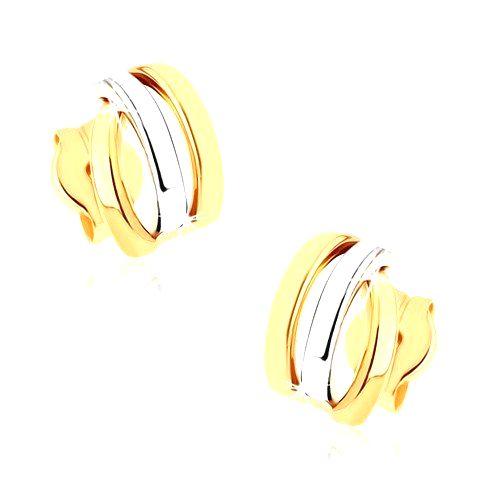 Zlaté puzetové náušnice 375 - tri ligotavé oblúčiky