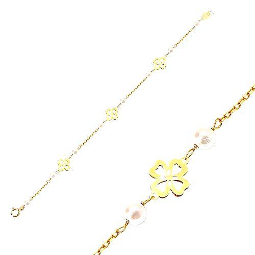Detský náramok zo žltého 14K zlata - biele guľaté perličky a štvorlístky pre šťastie