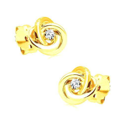 Diamantové náušnice zo žltého zlata 585 - uzol z troch prstencov