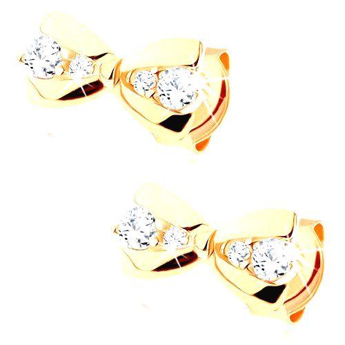 Náušnice v žltom 14K zlate - malá mašlička