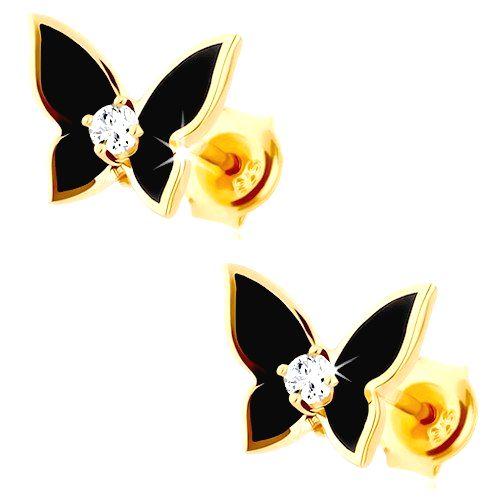 Náušnice v žltom 14K zlate - malý motýlik pokrytý čiernou glazúrou