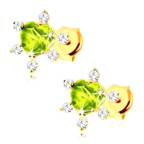 Náušnice v žltom 14K zlate - vybrúsené zelené srdiečko