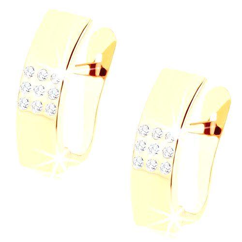 Náušnice v žltom 9K zlate - zrkadlovolesklé oblúky s čírymi zirkónikmi