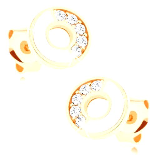Náušnice zo zlata 585 - obruč s bielou a zirkónovou polovicou