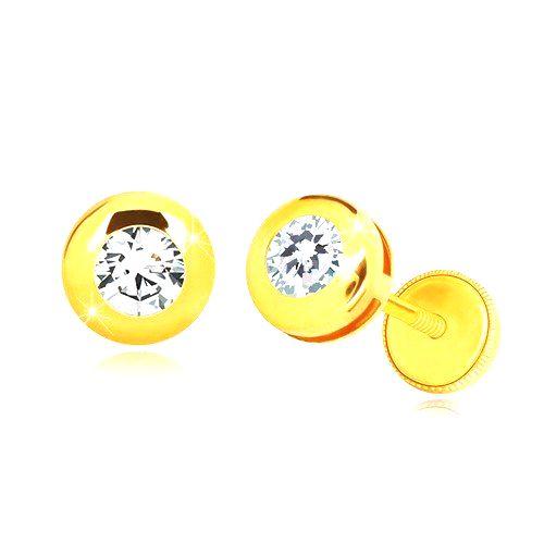 Náušnice zo žltého 14K zlata - lesklý kruh s čírym okrúhlym zirkónom