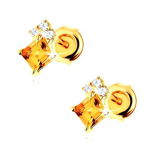 Puzetové náušnice v žltom 14K zlate - štvorcový žltý citrín