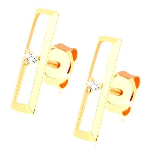 Puzetové náušnice zo zlata 585 - lesklý obrys obdĺžnika