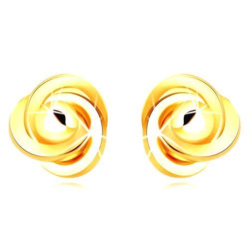 Zlaté 9K náušnice - tri prepletené prstence s hladkou guľôčkou
