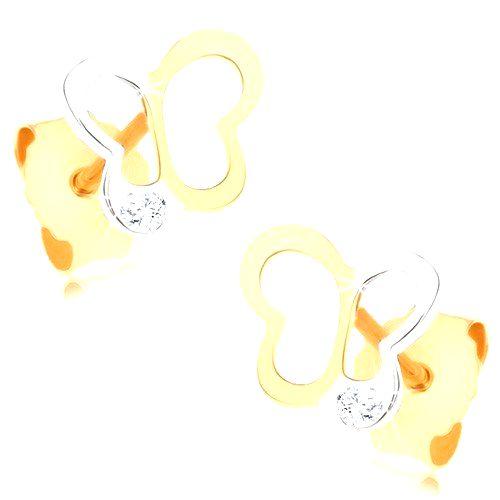 Zlaté náušnice 375 - dvojfarebná kontúra motýlika