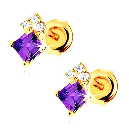 Zlaté náušnice 585 - ametystový štvorček fialovej farby