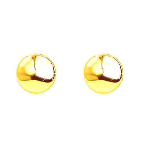 Zlaté náušnice 585 s puzetovým zapínaním - zrkadlovolesklý a hladký kruh
